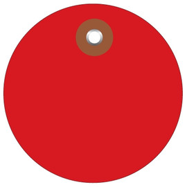 Plastic Circle Tags Red 3 inch (100 Per/Pack)