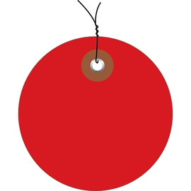 Plastic Pre-Wired Circle Tags Red 3 inch (100 Per/Pack)