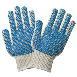 PVC Blue Dot Knit Gloves - Small (12 Pairs)