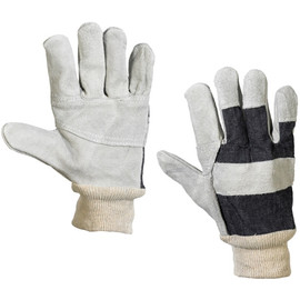 Leather Palm w/ Knit Wrist Gloves - Large (12 Pairs)