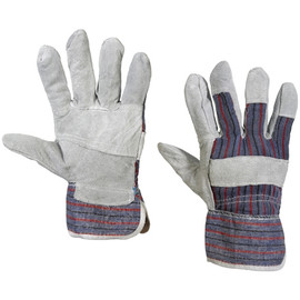 Leather Palm w/Safety Cuff Gloves - Large (12 Pairs)