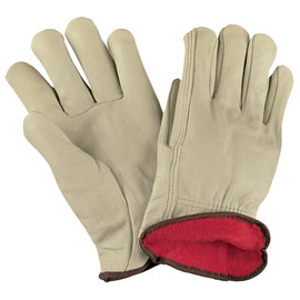 Cowhide Leather Drivers Gloves Lined - Medium (3 Pairs)