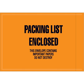 Orange  inchPacking List Enclosed inch Envelopes 4 1/2 inch x 6 inch (1000 Pack)