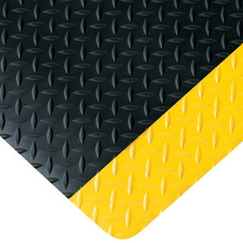 Diamond Plate Anti-Fatigue Mat Black/Yellow 4 ft x 12 ft x 9/16 inch