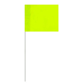 Marking Flags Fluorescent Lime 4 inch x 5 inch Flag with 21 inch Wire Staff (100 Flags)