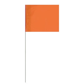 Marking Flags Orange 4 inch x 5 inch Flag with 21 inch Wire Staff (100 Flags)