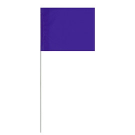 Marking Flags Purple 4 inch x 5 inch Flag with 21 inch Wire Staff (100 Flags)