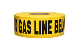 Non-Detectable Underground Tape - Caution Buried Gas Line Below - 2.5 mil 3 inch x 1000 ft Roll (8 Roll/Pack)