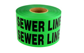 Non-Detectable Underground Tape - Caution Buried Sewer Line Below - 6 inch x 1000 ft Roll (4 Roll/Pack)