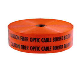 Mega Stretch Underground Marking Tape - Caution Buried Fiber Optic Line Below - 6 inch x 6000 ft Roll
