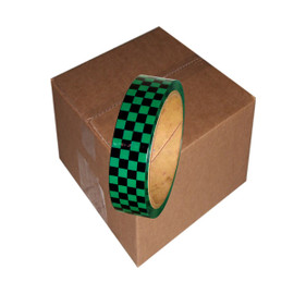 Laminated Checkerboard Outdoor Vinyl Tape 1 inch x 18 yard Roll Green / Black (24 Roll / Pack)