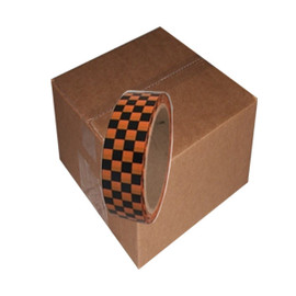 Laminated Checkerboard Outdoor Vinyl Tape 1 inch x 18 yard Roll Orange / Black (24 Roll / Pack)