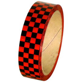 Laminated Checkerboard Outdoor Vinyl Tape 1 inch x 18 yard Roll Red / Black