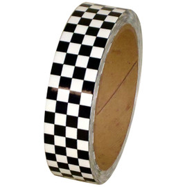 Laminated Checkerboard Outdoor Vinyl Tape 1 inch x 18 yard Roll White / Black
