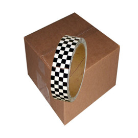 Laminated Checkerboard Outdoor Vinyl Tape 1 inch x 18 yard Roll White / Black (24 Roll / Pack)