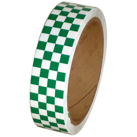 Laminated Checkerboard Outdoor Vinyl Tape 1 inch x 18 yard Roll Green / White