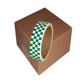 Laminated Checkerboard Outdoor Vinyl Tape 1 inch x 18 yard Roll Green / White (24 Roll / Pack)