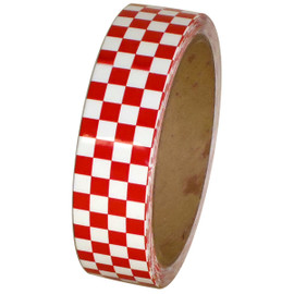 Laminated Checkerboard Outdoor Vinyl Tape 1 inch x 18 yard Roll Red / White