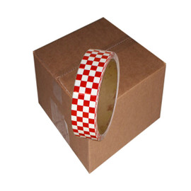 Laminated Checkerboard Outdoor Vinyl Tape 1 inch x 18 yard Roll Red / White (24 Roll / Pack)