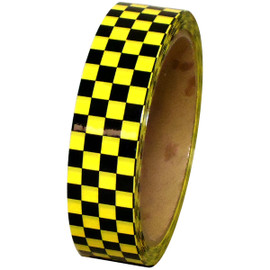 Laminated Checkerboard Outdoor Vinyl Tape 1 inch x 18 yard Roll Yellow / Black
