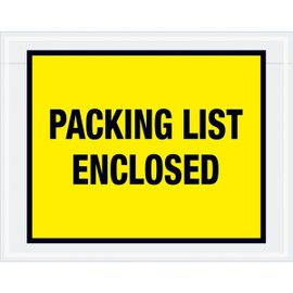 Full Face Yellow  inchPacking List Enclosed inch Envelopes 7 inch x 5 1/2 inch (1000 Pack)