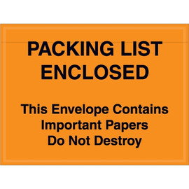 Orange  inchImportant Papers Enclosed inch Envelopes 4 1/2 inch x 6 inch (1000 Pack)
