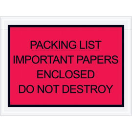 Red  inchImportant Papers Enclosed inch Envelopes 4 1/2 inch x 6 inch (1000 Pack)