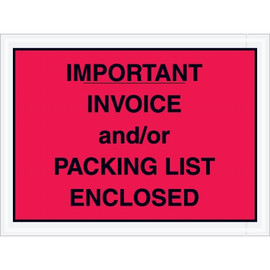 Red  inchImportant Packing List And/Or Invoice Enclosed inch Envelopes 4 1/2 inch x 6 inch (1000 Pack)
