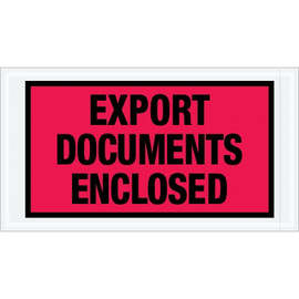 Red  inchExport Documents Enclosed inch Envelopes 5 1/2 inch x 10 inch (1000 Pack)