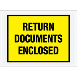 Special Use Yellow  inchReturn Documents Enclosed inch Envelopes 7 1/2 inch x 5 1/2 inch (1000 Pack)