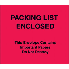 Red (Paper Face)  inchPacking List Enclosed inch This Envelope 7 inch x 6 inch (1000 Pack)