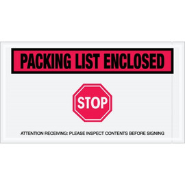 Special Use Red  inchPacking List Enclosed - Stop inch Envelopes 5 1/2 inch x 10 inch (1000 Pack)