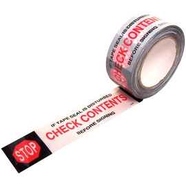 CHECK CONTENTS White Carton Sealing Tape 2 inch x 110 yard Roll (36 Roll/Pack)