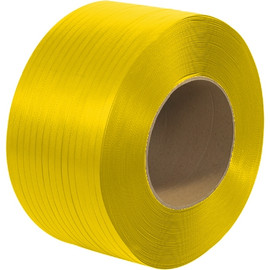 Machine Grade Polypropylene Strapping Yellow 1/2 inch x .020 x 9000 ft Roll on 9 inch x 8 inch Core