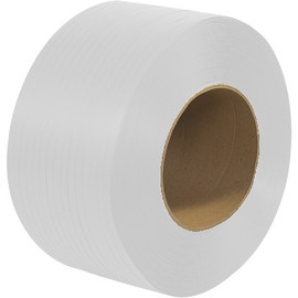 Machine Grade Polypropylene Strapping White 3/8 inch x .022 x 12900 ft Roll on 9 inch x 8 inch Core