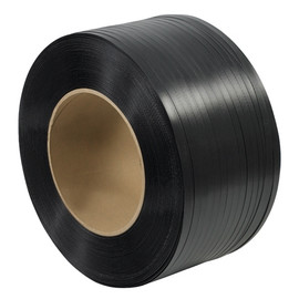 Hand Grade Polypropylene Strapping Black  1/2 inch x .015 x 9000 ft Roll on 8 inch x 8 inch Core