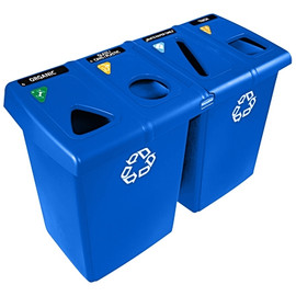 Rubbermaid Blue Recycling Station 92 Gallon 53 inch x 24 inch x 36 inch