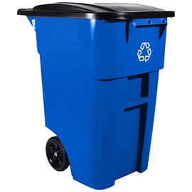 Rubbermaid Blue Recycling Bin with Wheels 50 Gallon
