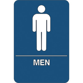 ADA Compliant Plastic Sign 9 inch x 6 inch - Men Restroom