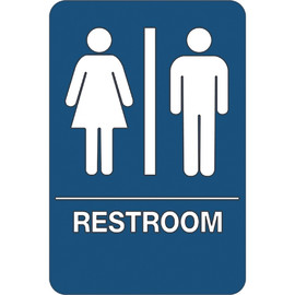 ADA Compliant Plastic Sign 9 inch x 6 inch - Men/Accessible Restroom