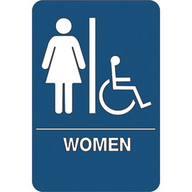 ADA Compliant Plastic Sign 9 inch x 6 inch - Women/Accessible Restroom