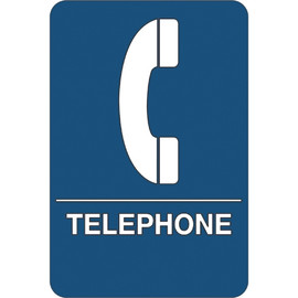 ADA Compliant Plastic Sign 9 inch x 6 inch - Telephone
