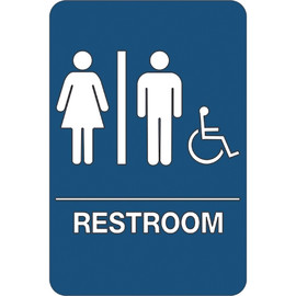 ADA Compliant Plastic Sign 9 inch x 6 inch - Men/Women Accessible Restroom