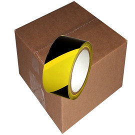 SST-618 2 inch x 18 yard Roll Black / Yellow Vinyl Safety Stripe Tape (24 Roll/Pack)