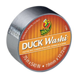Metallic Silver - Duck Washi Craft Rolling Tape 0.75 inch x 15 yard Roll