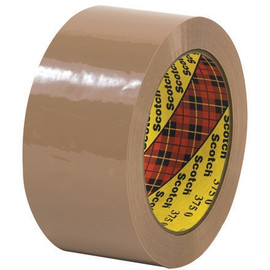 3M 375 Carton Sealing Tape Tan 2 inch x 55 yard Roll (6 Roll/Pack)