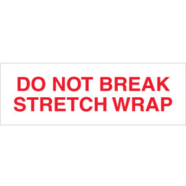 Tape Logic Pre-Printed Packing Tape White - Do Not Break Stretch Wrap 2 inch x 55 yard Roll (36 Roll/Pack)