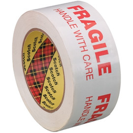 3M 3772 FRAGILE HANDLE WITH CARE Carton Sealing Tape 2 inch x 110 yard White (36 Roll/Pack)