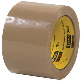 3M 375 Carton Sealing Tape Tan 3 inch x 55 yard Roll (6 Roll/Pack)
