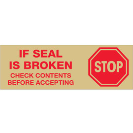 Tape Logic Pre-Printed Packing Tape Tan - Stop if Seal is Broken 3 inch x 110 yard Roll (24 Roll/Pack)